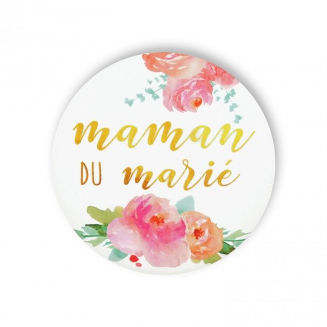 Badge MAMAN MARIE FLEURS
