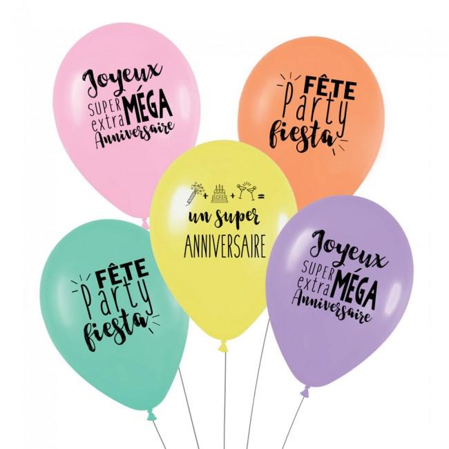 Lot de 5 ballons SUPER ANNIVERSAIRE - ARC EN CIEL