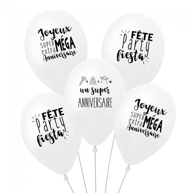 Lot de 5 ballons SUPER ANNIVERSAIRE - BLANC
