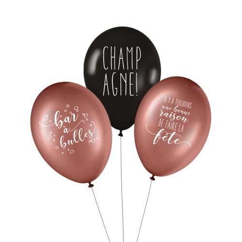 Lot de 3 ballons CHAMPAGNE