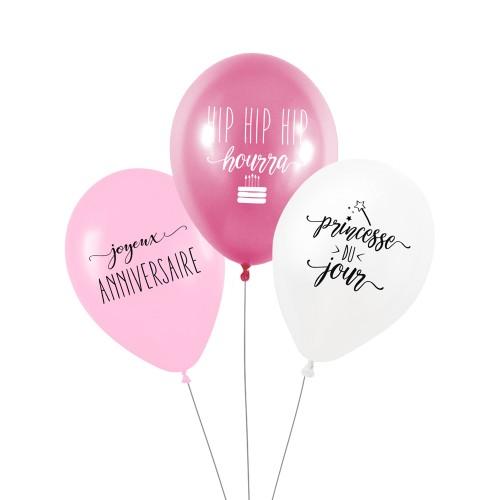 Lot de 3 ballons PRINCESSE DU JOUR