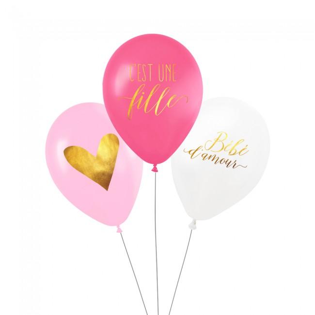 Lot de 3 ballons C'EST UNE FILLE