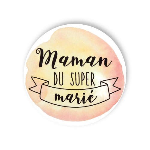 Badge MAMAN MARIE aquarelle
