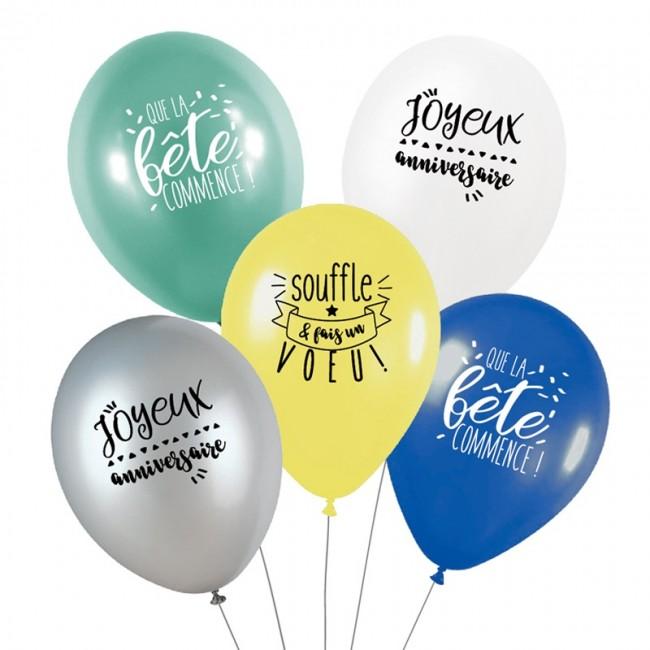 Lot de 5 ballons C'EST LA FÊTE - AVENTURE