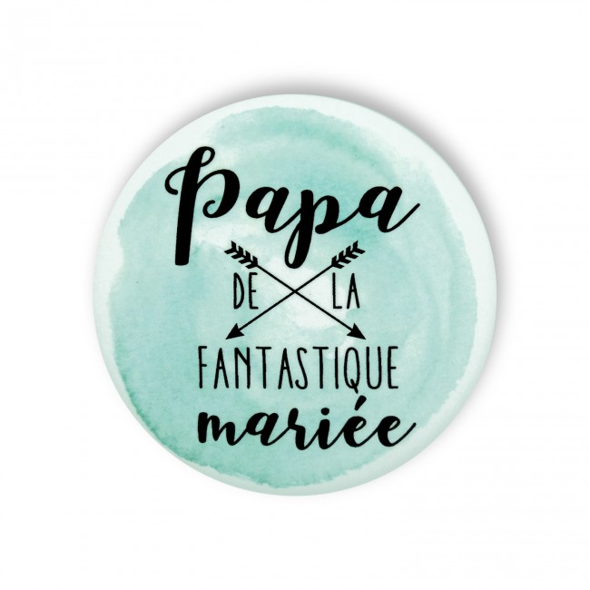 Badge PAPA MARIEE aquarelle