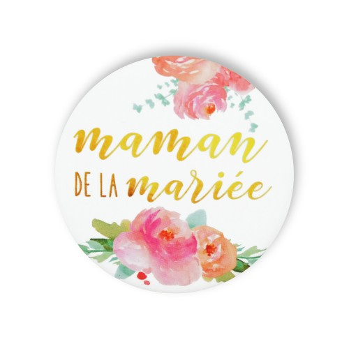 Badge MAMAN MARIEE FLEURS