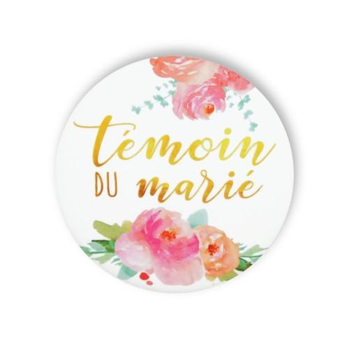 Badge TEMOIN MARIE FLEURS