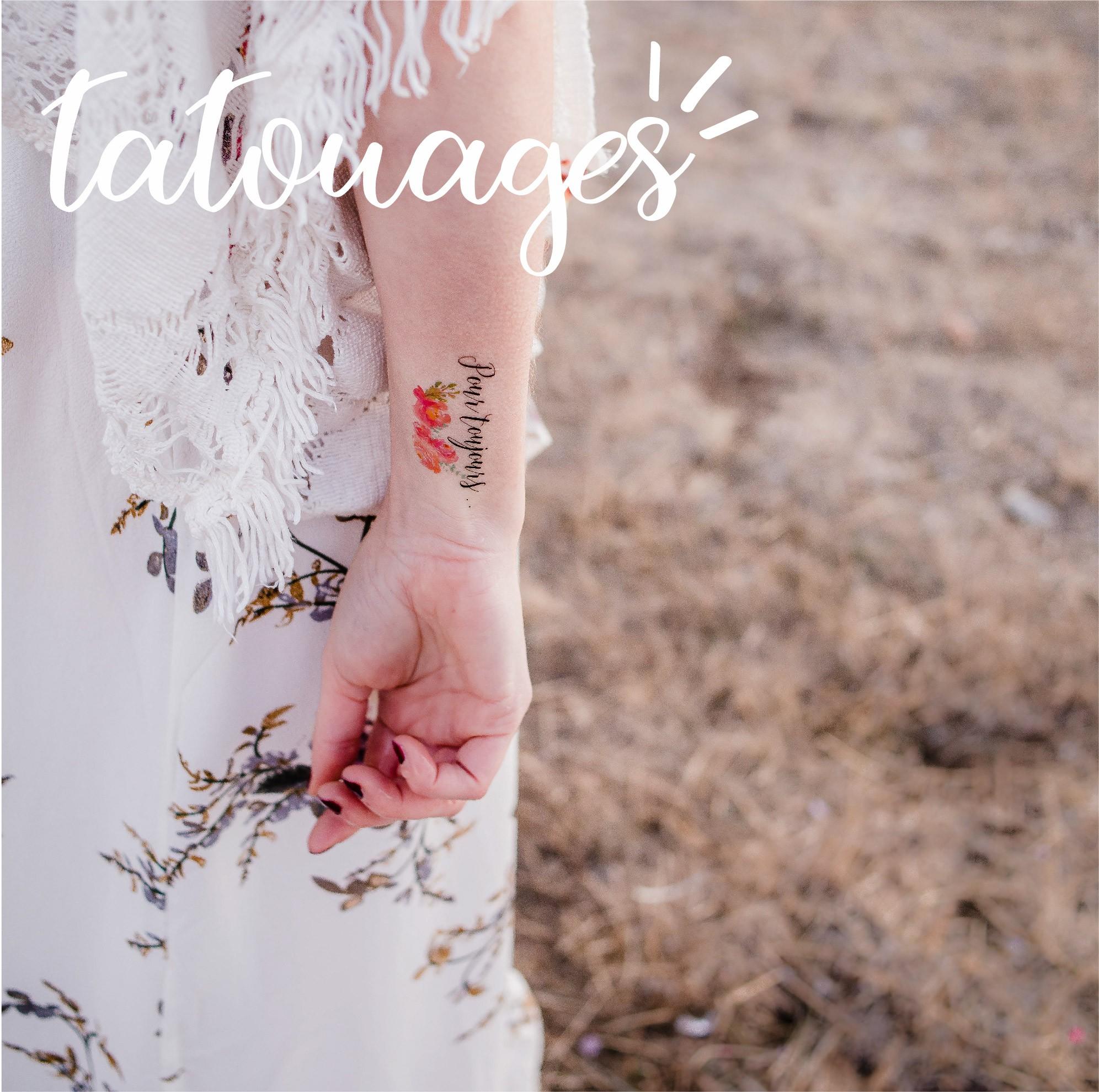 Grand choix de tatouages temporaires pour mariage, EVJF et anniversaire