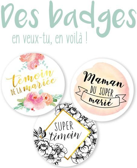 Des badges colorés pour un mariage tendance