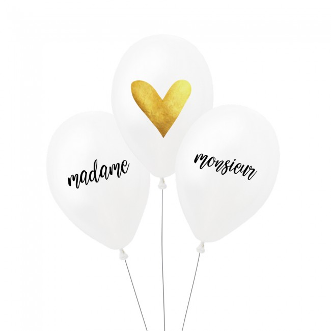 Lot de 3 ballons MADAME MONSIEUR