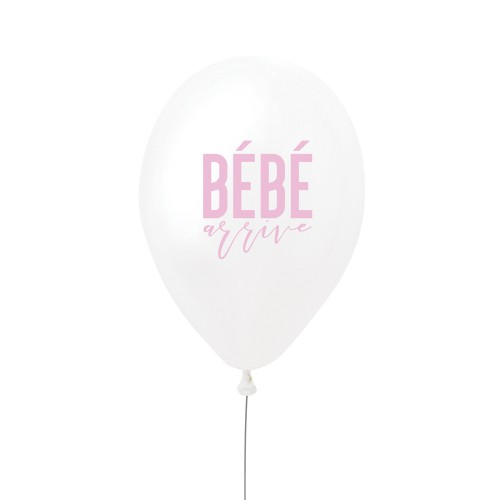 BALLON BEBE ARRIVE ROSE